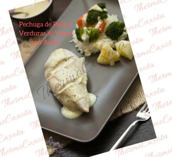Menú completo: Pechuga Pollo, verduras y Arroz al vapor